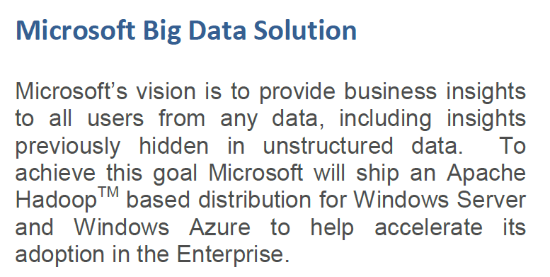 Microsoft on Big Data 1